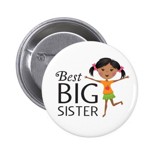 Best big sister with happy cartoon pinback button