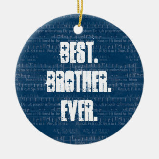 Best BROTHER Ever Blue Music Notes Pattern Z01 Round Ceramic Ornament