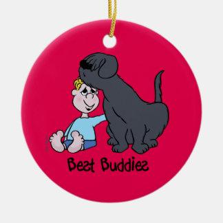 Best Buddies Round Ceramic Ornament