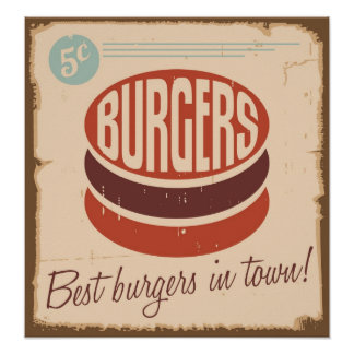 Best Burgers in Town Grunge Style Poster