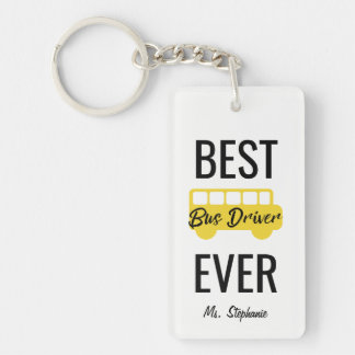 Best Bus Driver Ever Personalized Yellow Black Double-Sided Rectangular Acrylic Keychain