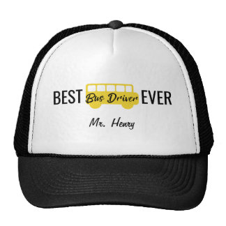 Best Bus Driver Ever Personalized Yellow Black Trucker Hat