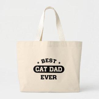 Best Cat Dad Ever Large Tote Bag