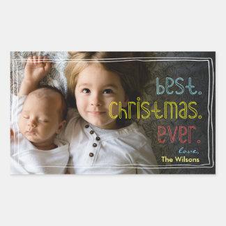 Best.Christmas.Ever Joyful Hand Drawn Fun Photo Sticker