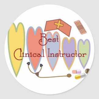 BEST CLINICAL INSTRUCTOR COUNTRY HEARTS ROUND STICKER