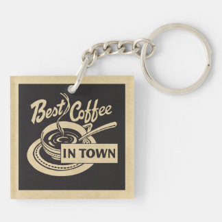 Best Coffee in Town Double-Sided Square Acrylic Keychain