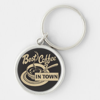 Best Coffee in Town Silver-Colored Round Keychain