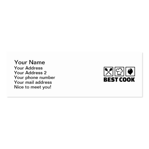 Best cook chef business card