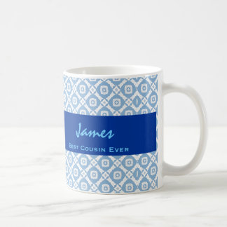 Best COUSIN Ever Blue Diamond Pattern Gift Idea Coffee Mug