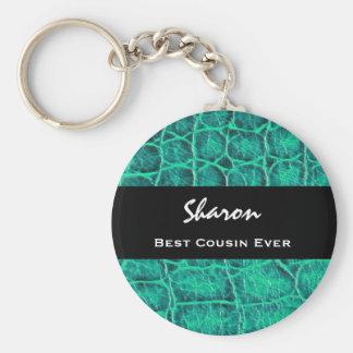 Best COUSIN Ever Teal Green Alligator Print Gift Keychain