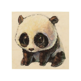 best cute and charming black and white panda wood print