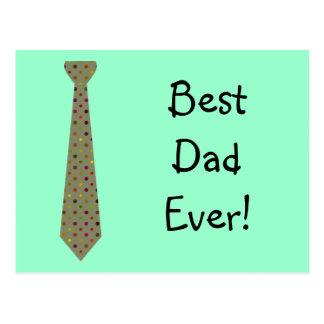 Best Dad Ever Dark Polka Dot Fake Tie Postcard