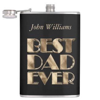 Best Dad Ever Elegant Black Gold Typography Hip Flask