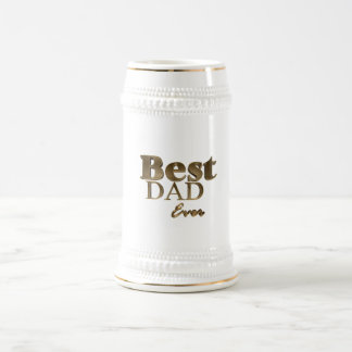 Best Dad Ever Elegant Golden Text Gold Typography Beer Stein