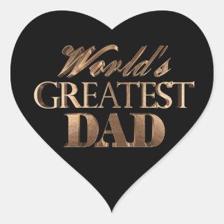 Best Dad Ever Elegant Text Black Gold Typography Heart Sticker