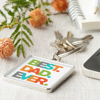 Best Dad Ever Silver-Colored Square Keychain
