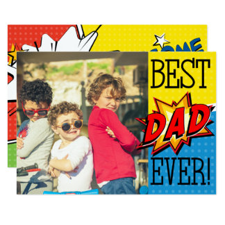 Best Dad Ever Superhero Custom Photo Card