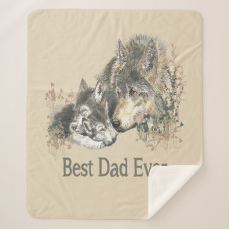 Best Dad Ever Wolf Watercolor Animal Quote Sherpa Blanket