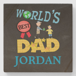 Best Dad Father's Day Chalkboard Stone Coaster