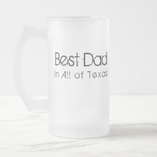 Best Dad in Texas Frosted Glass Beer Mug