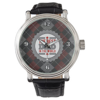 Best Dad in the World Argyle Patterned Watch