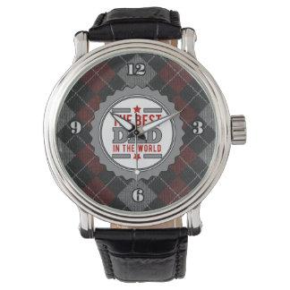 Best Dad in the World Argyle Patterned Wristwatch
