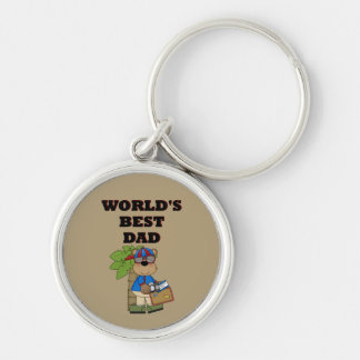 Best Dad Silver-Colored Round Keychain