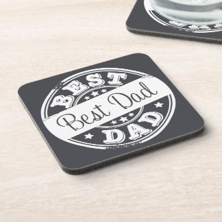 Best Dad -white rubber stamp effect - Coasters
