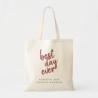 Best Day Ever Burgundy Red Wedding Tote
