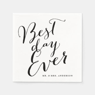 Best Day Ever Classic Script Calligraphy Wedding Paper Napkins