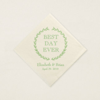 """Best Day Ever"" Green Wreath Personalized Wedding Disposable Napkins"