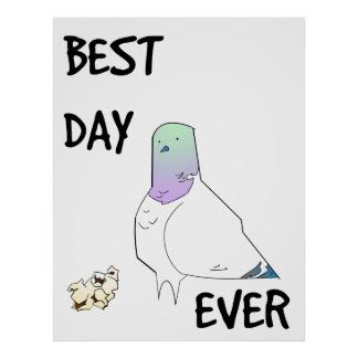 Best Day Ever Lucky Pigeon Poster
