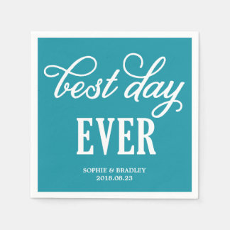 Best Day Ever | Modern Calligraphy Wedding Napkin Disposable Napkin