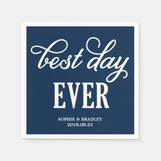 Best Day Ever | Modern Calligraphy Wedding Napkin Disposable Napkins