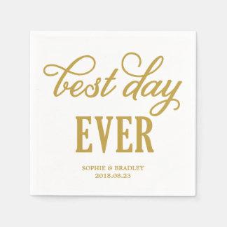 Best Day Ever | Modern Calligraphy Wedding Napkin Paper Napkin