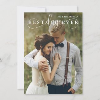 Best Day Ever Modern Wedding Photo Thank You