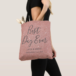 Best Day Ever Rose Gold Blush Pink Tote Bag