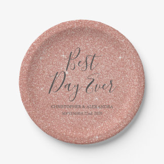 Best Day Ever Rose Gold Blush Pink Wedding Paper Plate