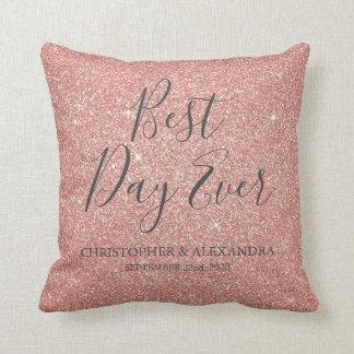 Best Day Ever Rose Gold Blush Pink Wedding Throw Pillow