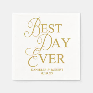 Best Day Ever | Trendy Script Wedding Napkin Paper Napkins