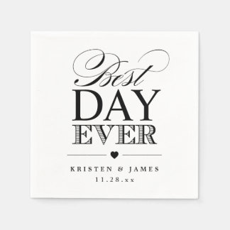 Best Day Ever Typography Script Classy Wedding Paper Napkin