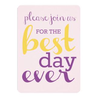 Best Day Ever Wedding Invite- Plumeria/Gold Card