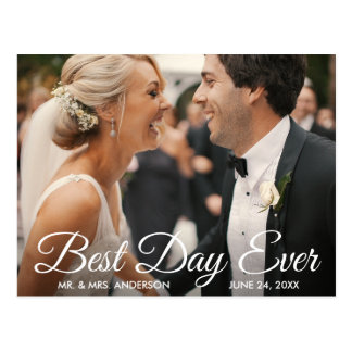 Best Day Ever Wedding Photo Bride and Groom Postcard