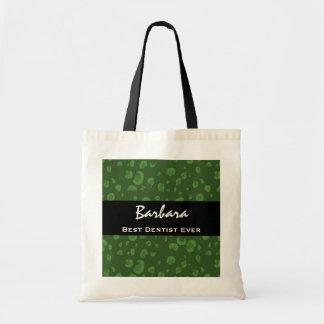 Best Dentist Ever Custom Name Green Leopard Tote Bag