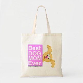 BEST DOG MOM EVER - PLANET PEEKABOO FEATURING PUPS TOTE BAG