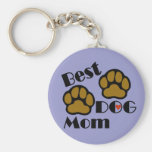 Best Dog Mom Key Chain with Dog Paws Merchandise