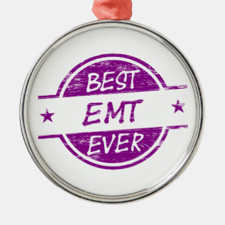 Best EMT Ever Purple Silver-Colored Round Ornament