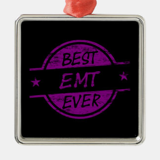 Best EMT Ever Purple Silver-Colored Square Ornament