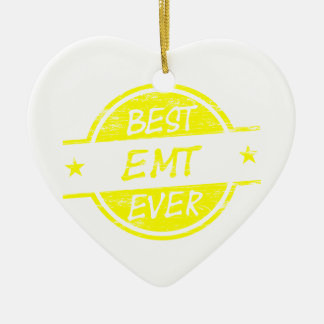Best EMT Ever Yellow Ceramic Heart Ornament