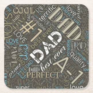 Best Ever Dad Word Cloud ID263 Square Paper Coaster
